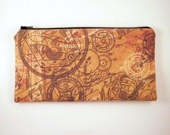 Steampunk Zipper Pouch, Make Up Bag, Gadget Bag, Pencil Pouch, Clockwork, Gears