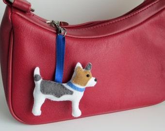Hand sewn Jack Russell Terrier felt bagcharm