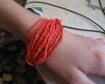 Red Coral Bead Bracelet, Red Bead Bracelet, Red Coral Cluster Bracelet, Coral Bracelet, Coral Bracelet