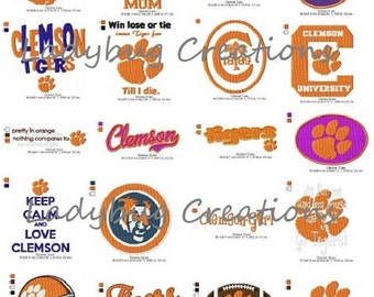 20 Clemson  Tigers  Embroidery Designs