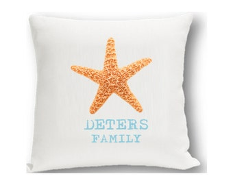 Star Fish Personalized Throw Pillow - By the Sea Personalized Decorative Pillows  - GC1201