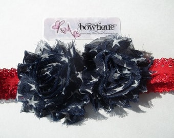 Red, White, Blue Stars - Patriotic - Printed Shabby Flower Girls Lace Headband or Photo Prop