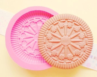 45mm Biscuit Cookie Flexible Silicone Mold - Decoden Kawaii Sweets Resin Fimo Polymer Clay Sculpey Wax Soap Fondant Cabochon