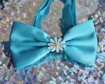 SALE!! Cute daisy bowtie sea blue solid color adjustable
