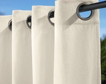 OUTDOOR 1 Pair Flat Rod Pocket or Grommet Curtain Panels in Canvas Drop Cloth 50 inches Wide x Selected Length