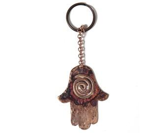 Copper Hamsa Keychain, Hamsa key chain, Hand of fatima, Evil eye, Hamsa hand gift, Hamsa keyrings, Boho keychain, Birthday gift, For her.