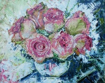 Roses. Original Large Oil Painting .Just roses.Roses in a vase