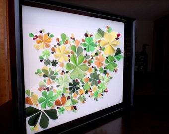 Extra Large 3D Flower Wall Art - Green, Yellow, Orange