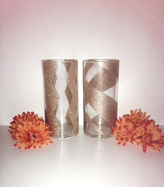 Gold glitter vases vase by hopeyoudance