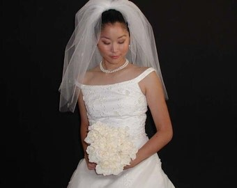 "Bridal veil - 2 Layer Wedding veil 22"" length past shoulder with plain edging."