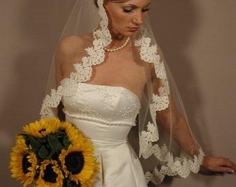 "Mantilla wedding veil - Circular 42"" fingertip length with hand beaded pearls."