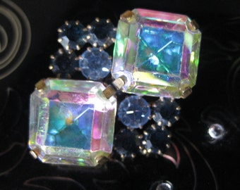 Double Diamond in Icicle Aurora Czech Glass Crystal Button