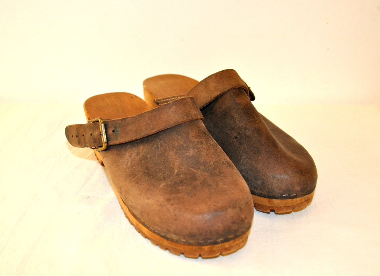 vintage leather brown wood platform shoes