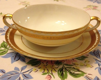 Beautiful Noritake Double Handled Cup and Saucer