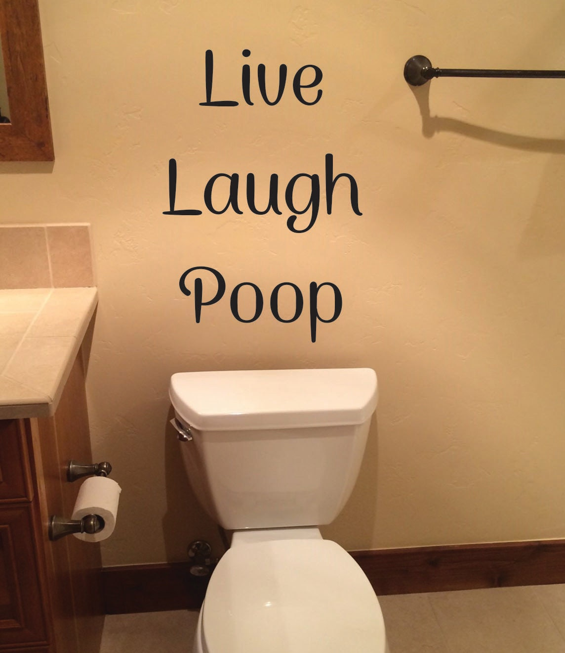 Funny bathroom wall decor live laugh poop wall decal for Bathroom funny videos