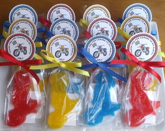 MOTORCYCLE PARTY - 10 Soap Favors, Dirt Bike Birthday, Party Favors, Baby Shower Favor, Motorcycle Wedding, Bridal Shower