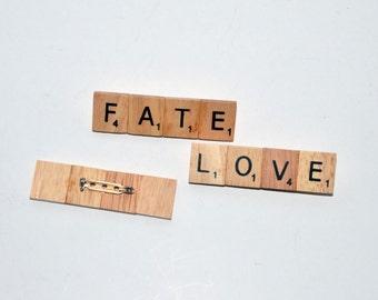 Wooden Scrabble Tile Word Brooch
