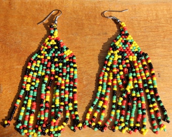Rasta Colored Fringe Earrings