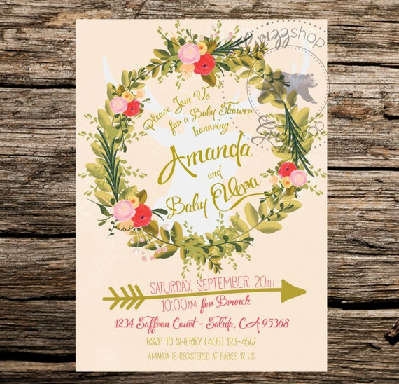 Boho Baby Shower Invites ~ Boho baby shower invitation by grizzshop on etsy