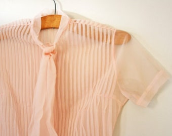 Vintage 1950s Pale Pink Pintuck Front Button Down Ladies Blouse with Ascot Tie