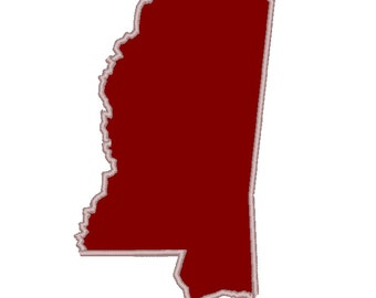Applique State of Mississippi Embroidery File, Many sizes and file types