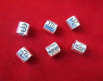 12pc set zodiac spacer beads in antique silver style (BC59)
