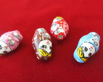 """10pc mixed ceramic """"Russian doll"""" charms (BC256)"""