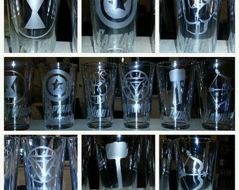 Individual Avengers Etched Glasses Iron Man, Captain America, The Hulk, Thor, Hawkeye, or Black Widow