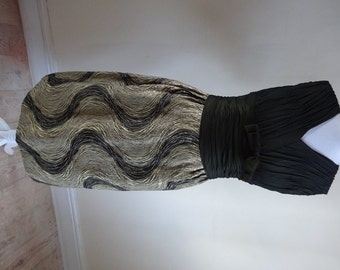 Vintage 1950s Dress - Black Chiffon Wiggle Dress