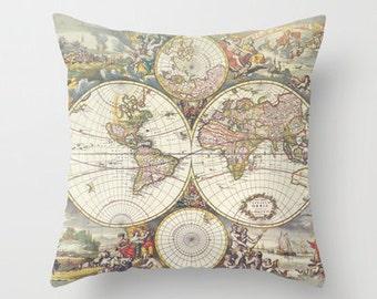 Antique Map Throw pillow, home decor, earth tones, World map ,travel theme, dorm, map, atlas