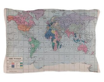 World Map Pillow Case - Early 1900's world map - Pastel tones unique travel, wander, classic, vintage design