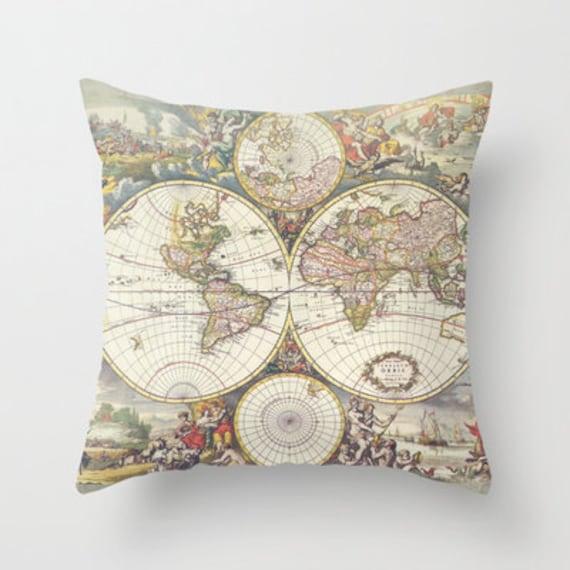 Items similar to Antique Map Throw pillow home decor