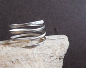 Sterling silver spring ring, wrapped around hammered ring, 16 gauge wire, hand forged, handmade, made to order, NEW 2014 COLLECTION