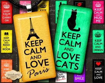 Keep Calm Dominoes – Pendants - Quotesgital Collage Sheet - Domino Images - 1x2 inch dominoes - Printable Dominoe