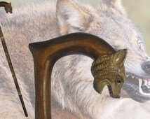 WEREWOLF vintage style walking stick hiking cane hand carved of solid wood handmade wood wooden coyote wild dog