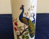 Vintage porcelain peacock motif flower vase