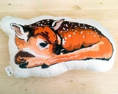 Organic Cotton Animal Pillow in Sleeping Deer with Eco Friendly Ink