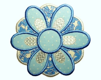 """Blue Lly  Applique Machine Embroidery Design Pattern in 3 sizes 4"""", 5"""" and 6"""""""