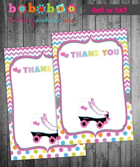 Roller Skate Thank You Card/Roller Skate Card/Thank you Favor