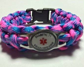 Custom Paracord Diabetic Medical Alert Bracelet - T1 Insulin Dependent