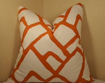One or Both Sides - ONE Schumacher Zimba Orange Pillow Cover with Self Cording