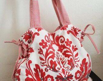 Damask purse,red,bag,cotton Purse, Red,White,shoulder bag,tote