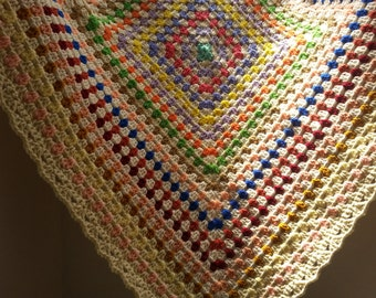 Granny Square Blanket, Baby Afghan, Baby Blanket, Couch Blanket, Throw - Multicolored
