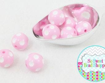 20mm Polka Dot Acrylic Beads, 8ct, Light Bubblegum Pink, Gumball Beads, Round
