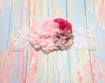 Pink Baby Headband, Pink Headband, Pink Flower Girl Headband, Hot Pink Headband, Floral Headband,Pink Birthday Headband,Pink flower headband