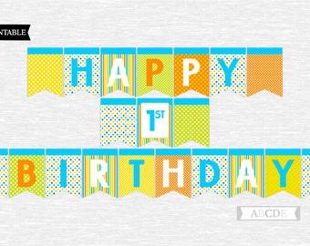 Instant Download Polka dots Boy Happy 1st Birthday Banner DIY Printable (PDMD011)