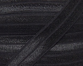 Black Fold Over Elastic - Elastic For Baby Headbands and Hair Ties - 5 Yards of 5/8 inch FOE