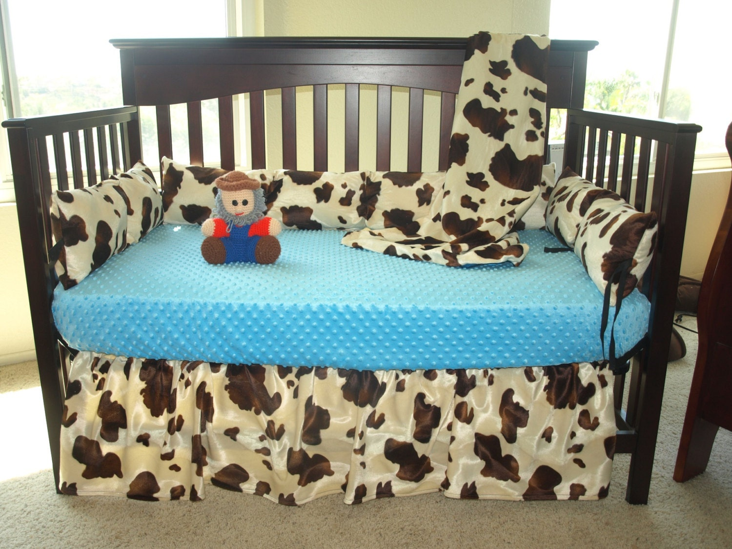 Western Cowboy Baby Bedding Brown Cow