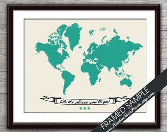 Oh the Places You'll Go - WORLD MAP (Version B) - Art Print (Featured in Emerald) Customizable Kitchen Prints