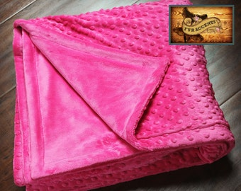 FUR ACCENTS Minky Cuddle Fur Bedspread / Throw Blanket  / Reversible / Hot Pink Minky Dot